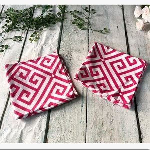 Other - 3/$25 Set of 2 pillow covers pink white geometric